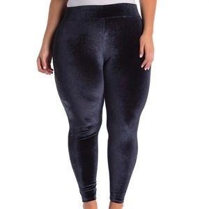 Slate Blue Velvet Leggings